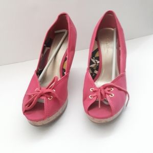Pink Canvas Wedges - Magenta Heels Size 10
